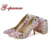Острый носок Розовый со стразами Свадебное платье Обувь с соответствующими Кошелек 3 дюйм(ов) Высокие каблуки кристалл туфли лодочки для ве