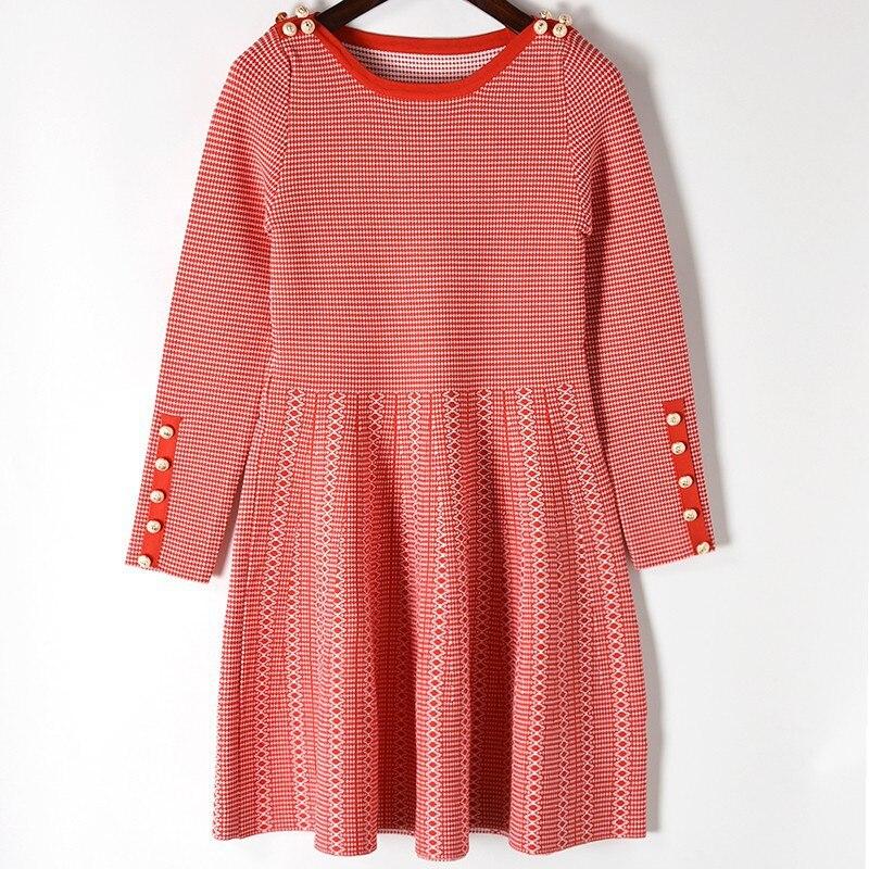Chandail red Piste Printemps Black Nouveau Cou Robes Bottons 2019 Rouge En Tricot Slash Qualité Femmes Robe Hiver Haute wkuTlOZPXi