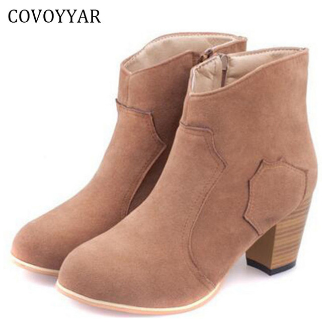 Hot Fashion Boots Women Basic Solid Combat Martin Western Ankle Boots Med  Heel Side Zipper Autumn 5ba6428585fc