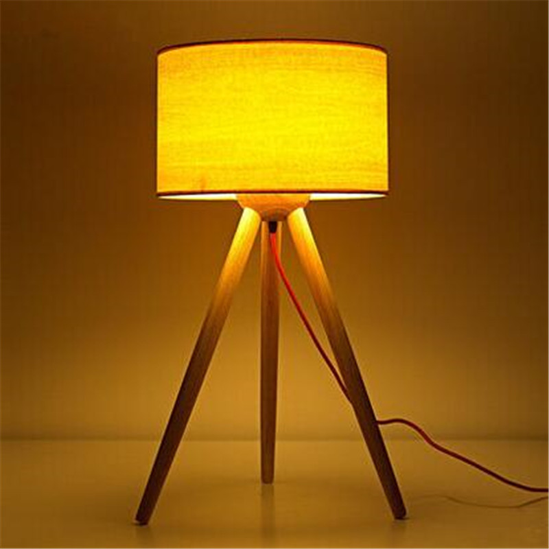 Loft Nordic Simple Creative Table Lamp Log Bedroom Livingroom Bedside Office Study Three Foot Decoration Lamp Free Shipping