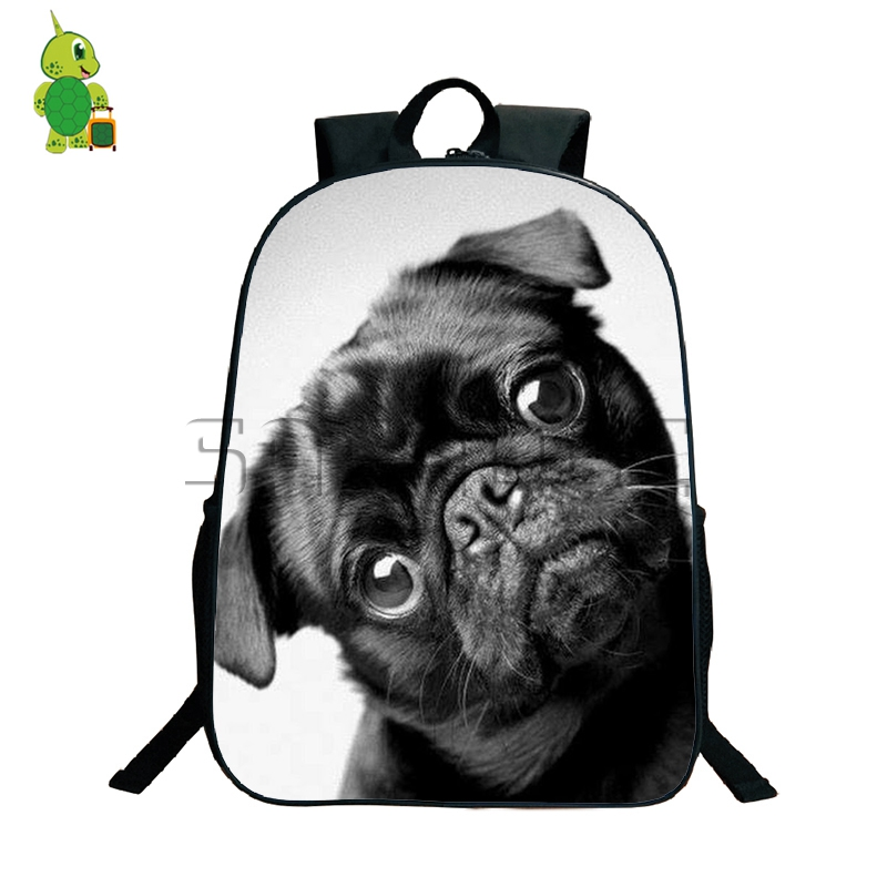 Kawaii Children Animal Backpack Women Men Daily Bags Pug Dog Printing Laptop Backpack For Teens Boys Girls School Travel Bags