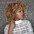 La peluca de 16 pulgadas de largo rizado Afro pelucas para mujeres negras rubia marrón pelucas sintéticas Africana peinado de calor resistente a