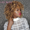 MISS WIG 16Inches Long Afro Kinky Curly Wigs for Black Women Blonde Mixed Brown Synthetic Wigs African Hairstyle Heat Resistant