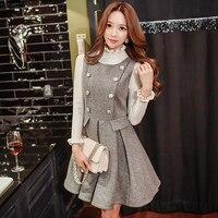 2016 Brand Autumn Winter Dresses for Women Plus Size Vintage Slim Elegant Casual Buttons Wool Tank Dress Wholesale