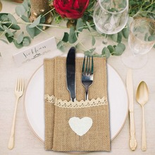 OurWarm 10pcs Natural Jute Cutlery Knives and Forks Set Silverware Bag Holder 21x11cm Burlap & Lace Party Wedding Decor