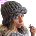 Women Warm Extra Coarse Wool Knitted Beanie Hat Cap Fisher Chapeu Gorros De Lana Touca Casquette Cappelli Bonnets Femme 7 colors
