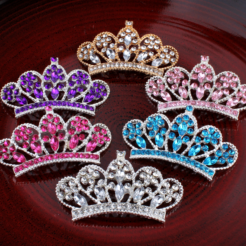 30pcs/lot 6colors Vintage Handmade Metal Rhinestone Button Bling Alloy Crystal Flatback Crown/Tiara Buttons for Hair accessories crystal long tassel zanhuaji vintage classical hair stick for tv play legend of chinese empress wumeiniang handmade hair sticks