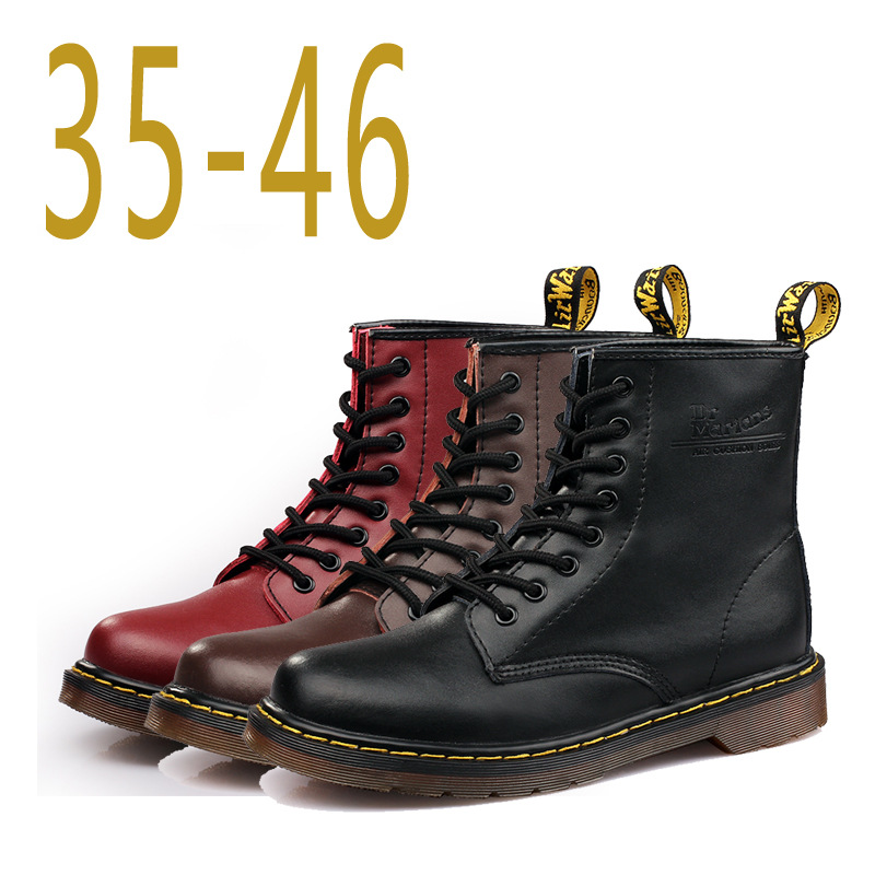 Men s font b Boots b font Martens Leather Winter Warm Shoes Motorcycle Mens Ankle font