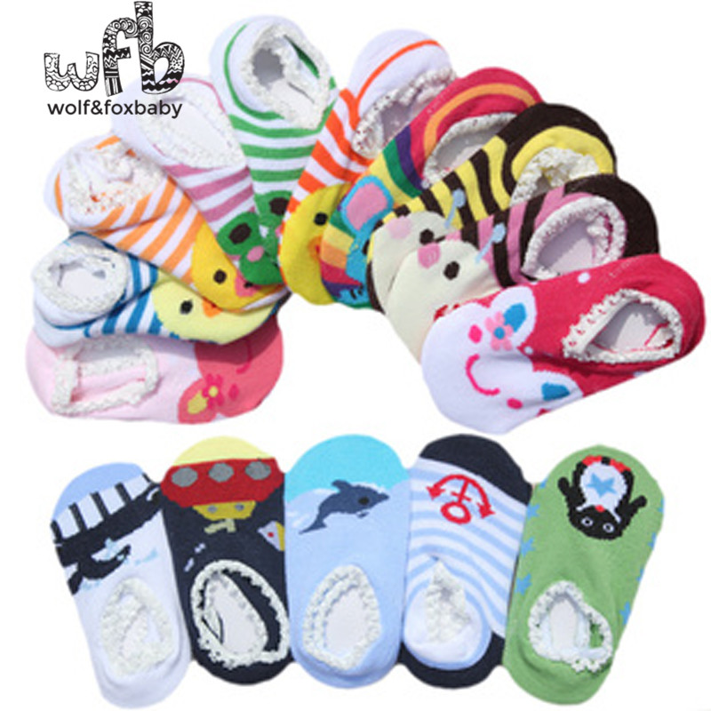 50pairs/lot Free shipping 100% cotton Baby socks rubber slip-resistant floor socks cartoon Anti-slip Walking kid socks 0-1 baby