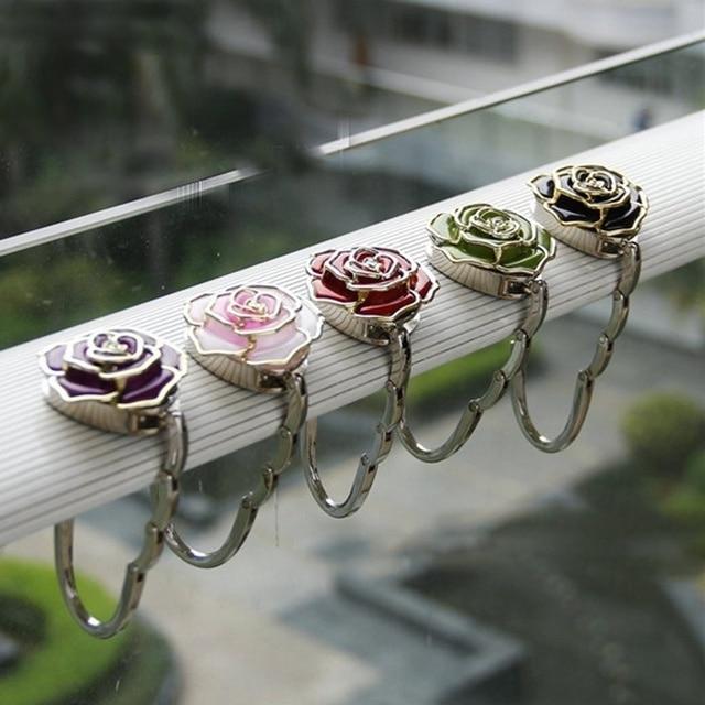Crochet multi-usages support fleuri flottant   Sac de fourre-tout suspendu parapluie Rose pour cintres sac à main bureau de Table pour crochets
