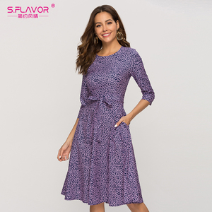 Image 4 - S.FLAVOR Casual Purple Floral Printed Women Dress Classic O neck Short A line Dress For Female Elegant 2020 Summer Vestidos