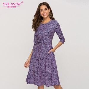 Image 4 - S. טעם מזדמן סגול פרחוני מודפס נשים שמלה קלאסי O צוואר קצר קו שמלה נשי אלגנטי 2020 קיץ Vestidos