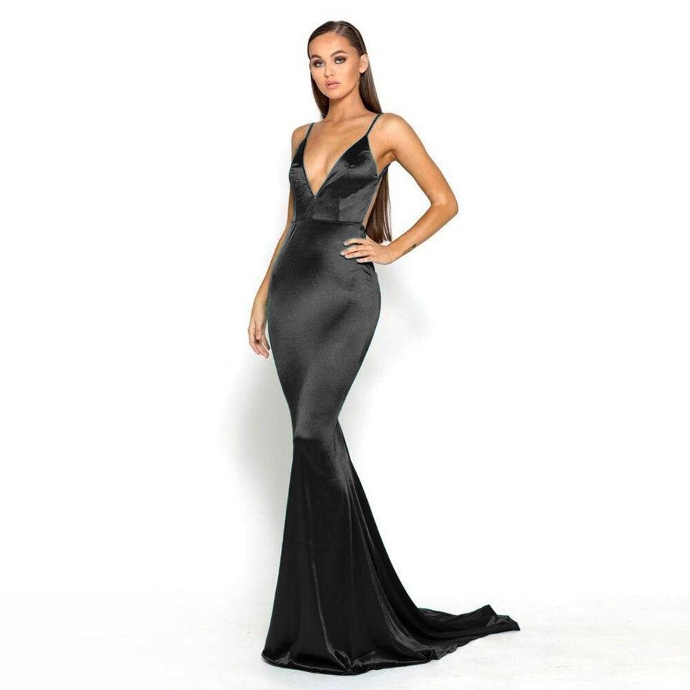 Robe longue en Satin noir à col en V profond robe longue sirène robe moulante longueur au sol dos ouvert Stretch robe de soirée