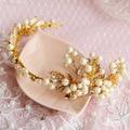 2016 Bridal Simulated Pearl Set Auger Hairbands Tiara Hair Jewelry Wedding Accessories Novia Casamento Acessorios Para Mulher