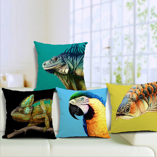Us 10 28 Bright Colorful Sofa Pillows Case Animal Burlap Parrot Cushion Cover Lizard Turquoise Color In From Home Garden On