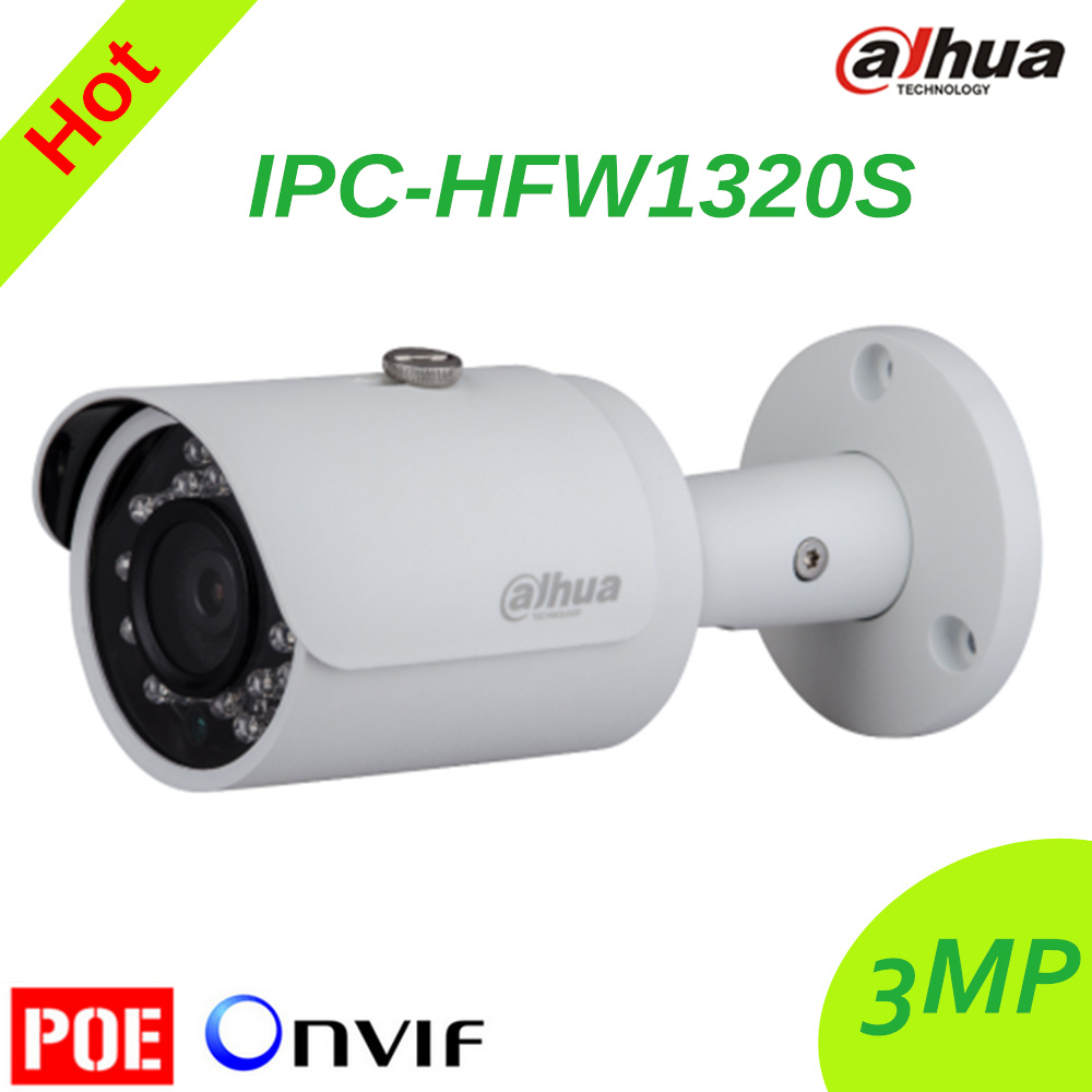 Dahua IPC-HFW1320S IR HD 1080p IP Camera Security Outdoor 3MP Full HD Network IR Bullet Camera Support POE DH-IPC-HFW1320S free shipping dahua ipc hfw4300s ir hd 1080p ip camera security outdoor 3mp full hd network ir bullet camera support poe