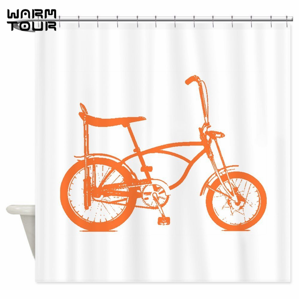 Warm Tour Retro Orange Banana Seat Bike Shower Curtains Decorative Fabric Bathroom Curtain WTC102 In From Home Garden On Aliexpress