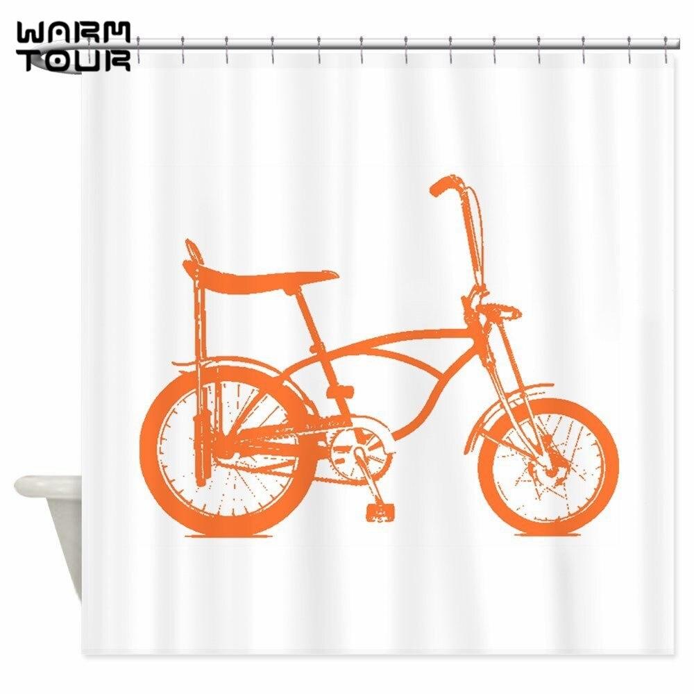 Warm Tour Retro Orange Banana Seat Bike Shower <font><b>Curtains</b></font> Decorative Fabric Bathroom <font><b>Curtain</b></font> WTC102