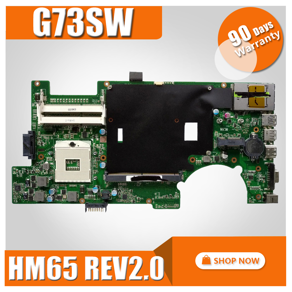 G73SW Motherboard 4 SLOTS 2D REV: 2.0 HM65 For ASUS G73SW G73S G73 Laptop motherboard G73SW Mainboard G73SW Motherboard test OK g73sw for asus motherboard rev2 0 hm65 4ram slots 3d connector 90r n3imb1000y mainboard full test