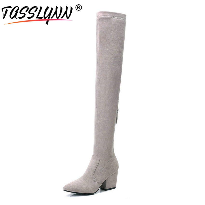 TASSLYNN 2018 Women Boots Zipper Look Slim Winter Boots Over The Knee Boots Square High Heels Pointed Toe Women Shoes 34-43