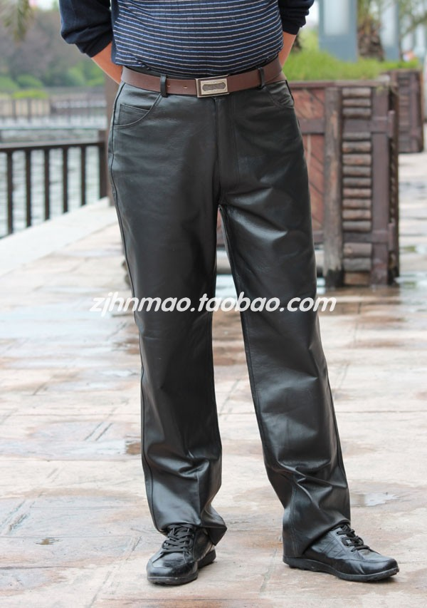 HOT Autumn and winter Genuine Leather motorcycle pants Men Locomotive leather pants men's clothing trousers customize 27 39