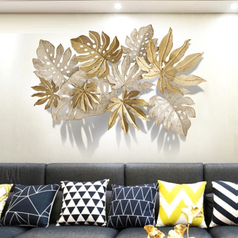 Ins скандинавские листья настенные украшения 3D стерео Кованые Настенные подвесные поделки домашний диван фон Настенная Наклейка Фреска R2054