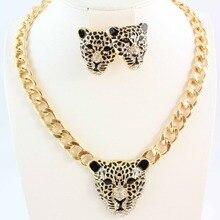 Модный золотой цвет черный эмалированный подвеска с леопардом массивное ожерелье серьги комплект ювелирных изделий