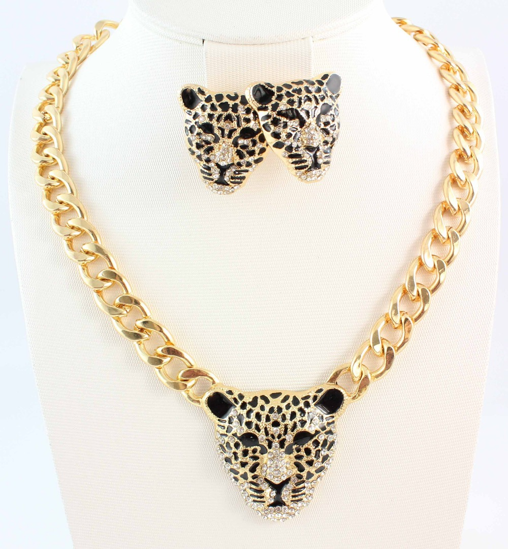 Fashion Gold Color Black Enameled Leopard Pendant Statement Necklace earrings Jewelry Set