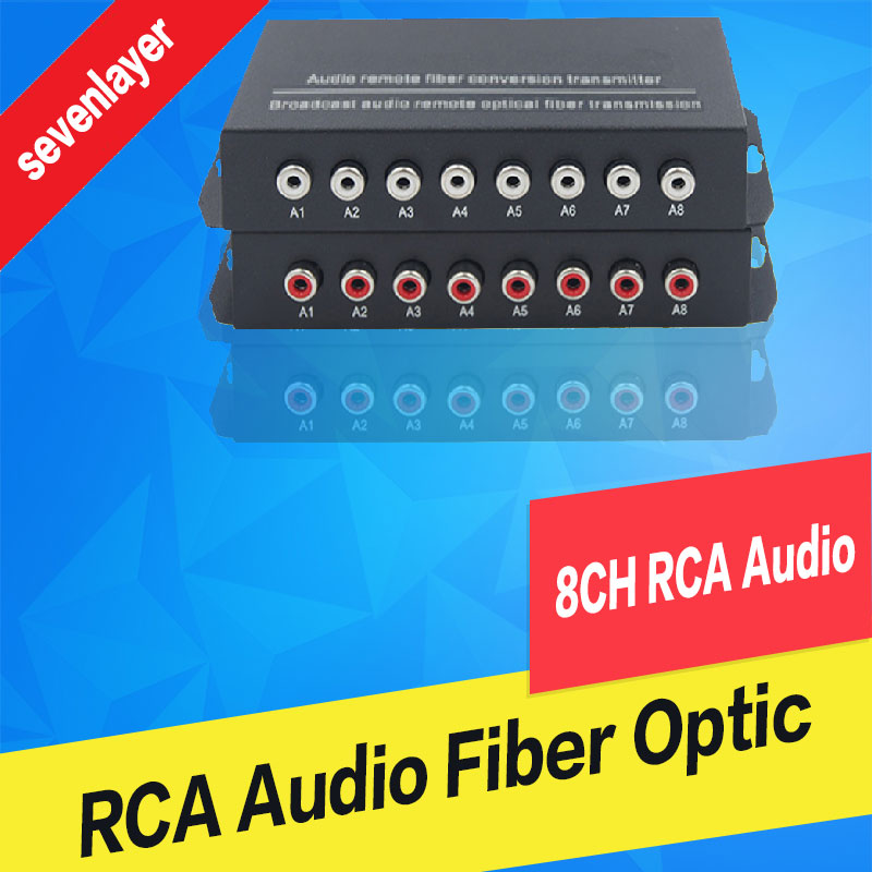 8ch RCA Audio To Fiber Optic Digital Audio Converter Stereo Audio Over Fiber Optic Extender Converter For Broadcast System