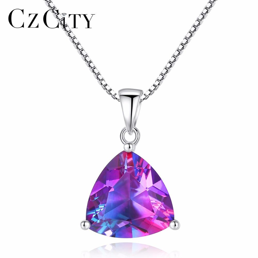 CZCITY Rainbow GemSton Pendant 5.79ct Mystic Purple Rainbow Fire Topaz 925 Sterling Silver Necklaces & Pendants Women Jewelry