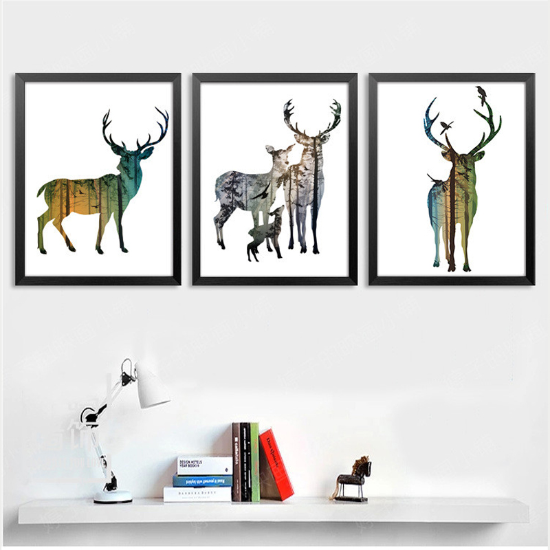 nordic colorful forest deer horse lion a4 canvas painting art oil print poster kids room wildlife