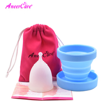 1pcs Menstrual Cup and 1pcs Sterilizer Cup Sterilizing Collapsible Cups Flexible to Clean  Recyclable Camping Foldable Cup недорого