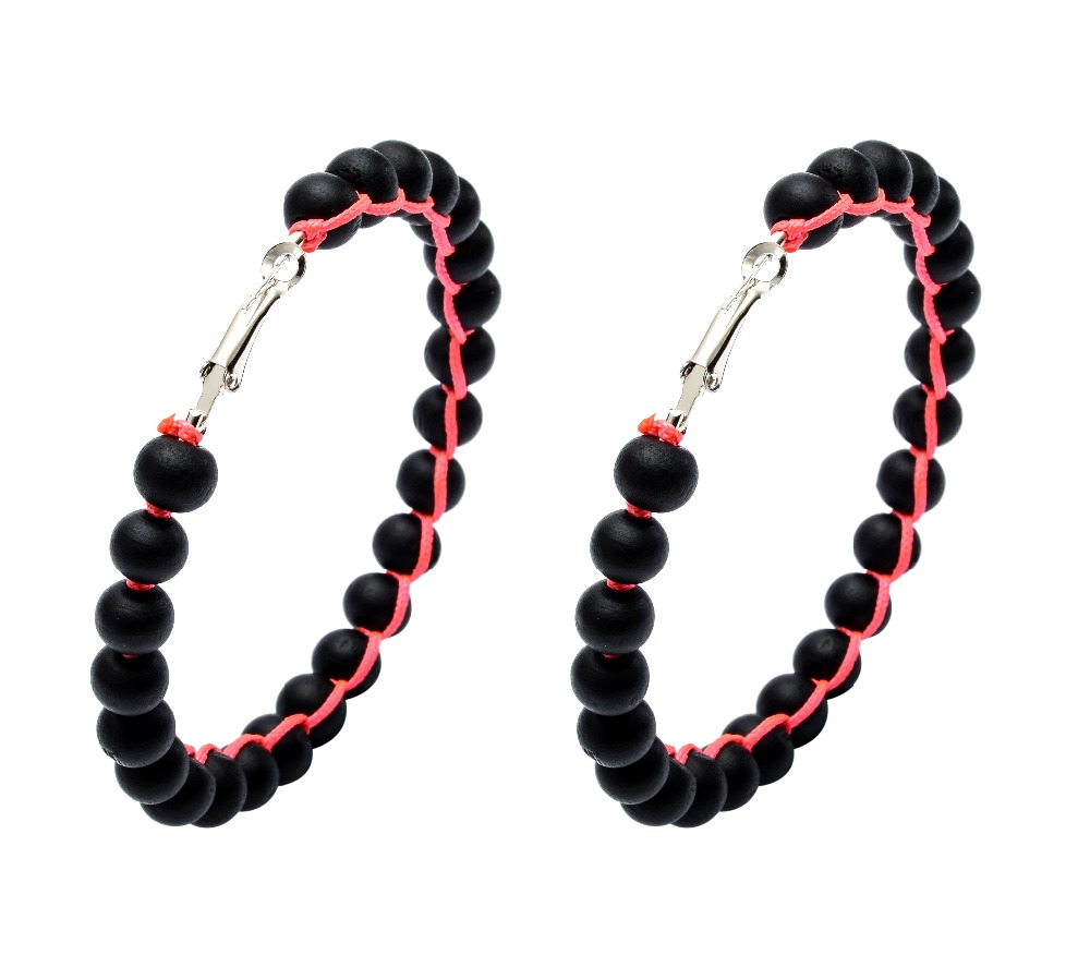 2016 New Arrive Black Wood Hoop Earrings For Sale Handmade Big