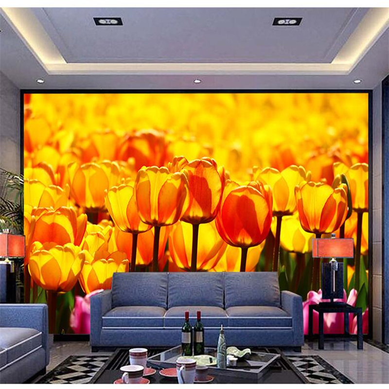 Wellyu  Papier Peint  Wallpaper For Walls 3 D Custom Wallpaper  Tulip Flower Sea HD  Wallpaper For Walls 3 D	 Behang  Tapety
