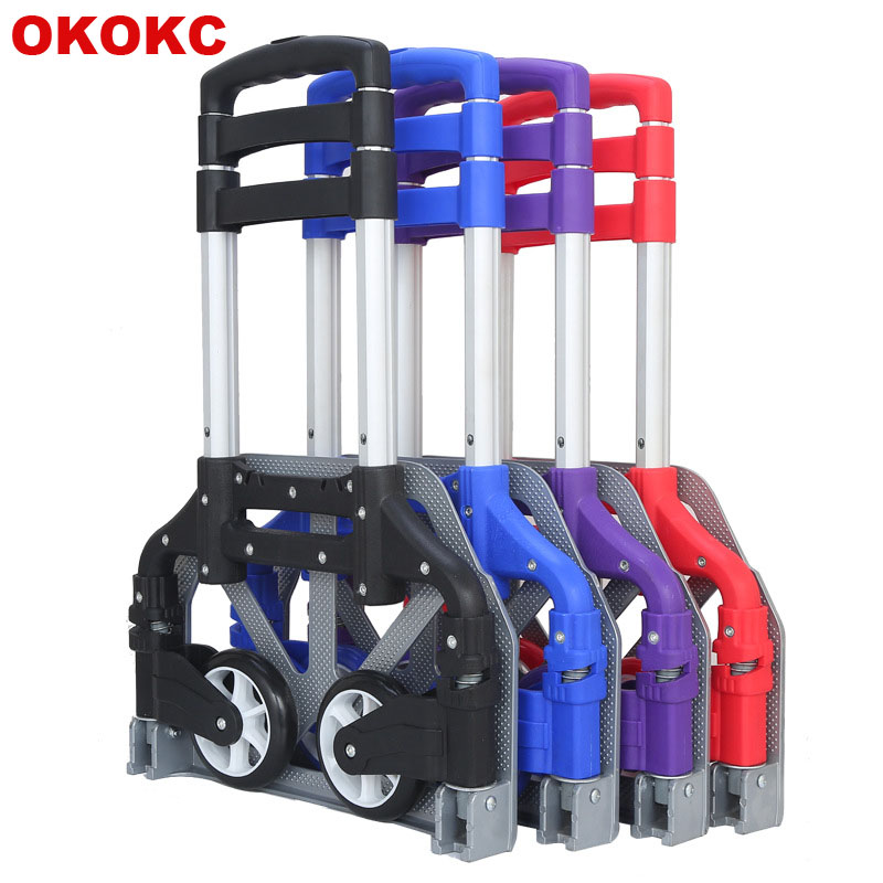 OKOKC Shopping Cart Aluminum Alloy Portable Trolley Foldable Loader Trolley Trailer Telescopic Type Luggage Carts