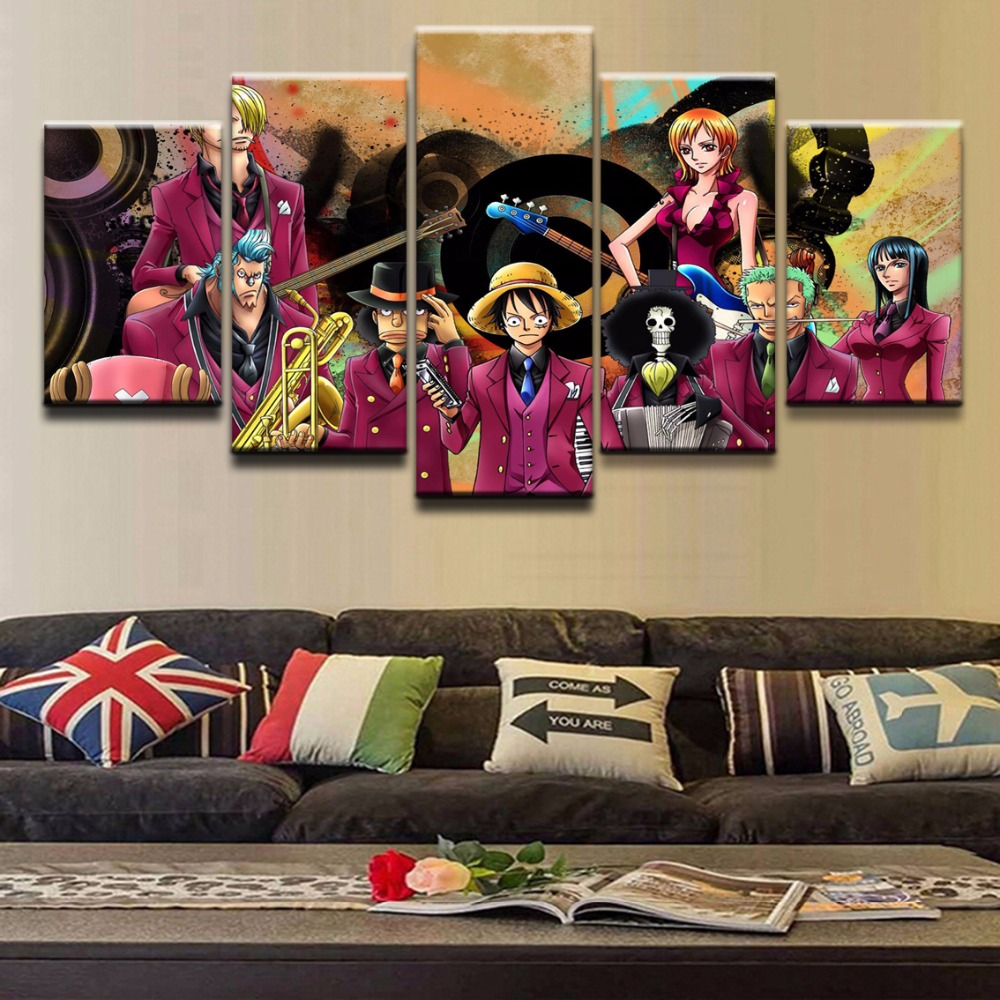 Anime ONE PIECE 5 Pieces Paintings on Canvas Wall Art for Home Decorations Decor HD Print Painting
