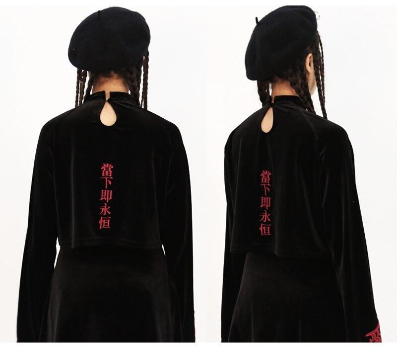 Gothique Chinois Broderie Velours Polaire Sweat Punk de