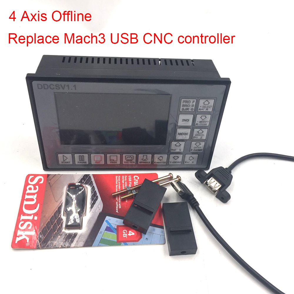 DDCSV1.1-4 Axis Offline Engraving machine Controller Replace Mach3 USB CNC Controllerfor CNC Router Machine Control System Card acctek mini engraving router machine akg6090 square rails mach 3 system usb connection