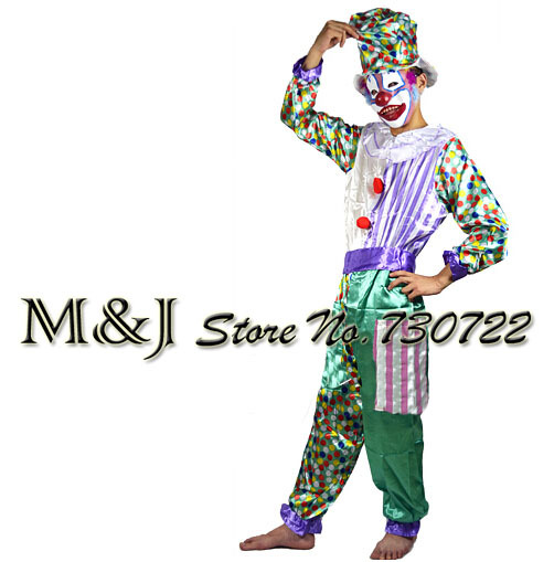 Free shipping!!Green lake adult clothes clown hat Halloween costumes wacky happy bar magic clown costume