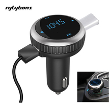 Rylybons Wireless Bluetooth Manos Libres Kit de Monitor de Voltaje USB Cargador de Coche Transmisor FM Bluetooth Modulador de FM Reproductor MP3