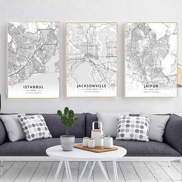 Modern Famous World City Map <font><b>Istanbul</b></font> Jacksonville Jaipur City Poster Nordic Living Room Wall Art Picture Home Canvas Painting image