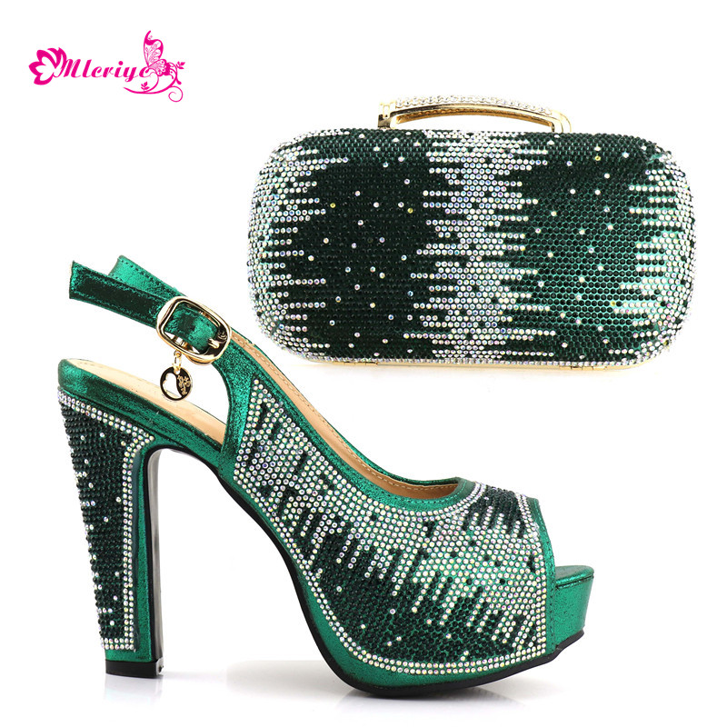 1719 green Color Italian Shoes with Matching Bags for Wedding Women Shoes and Bag to Match for Parties Nigerian Shoes and Bag doershow italian shoes and bag set women shoe and bag to match for parties latest green color lady matching shoes and bag ul1 4
