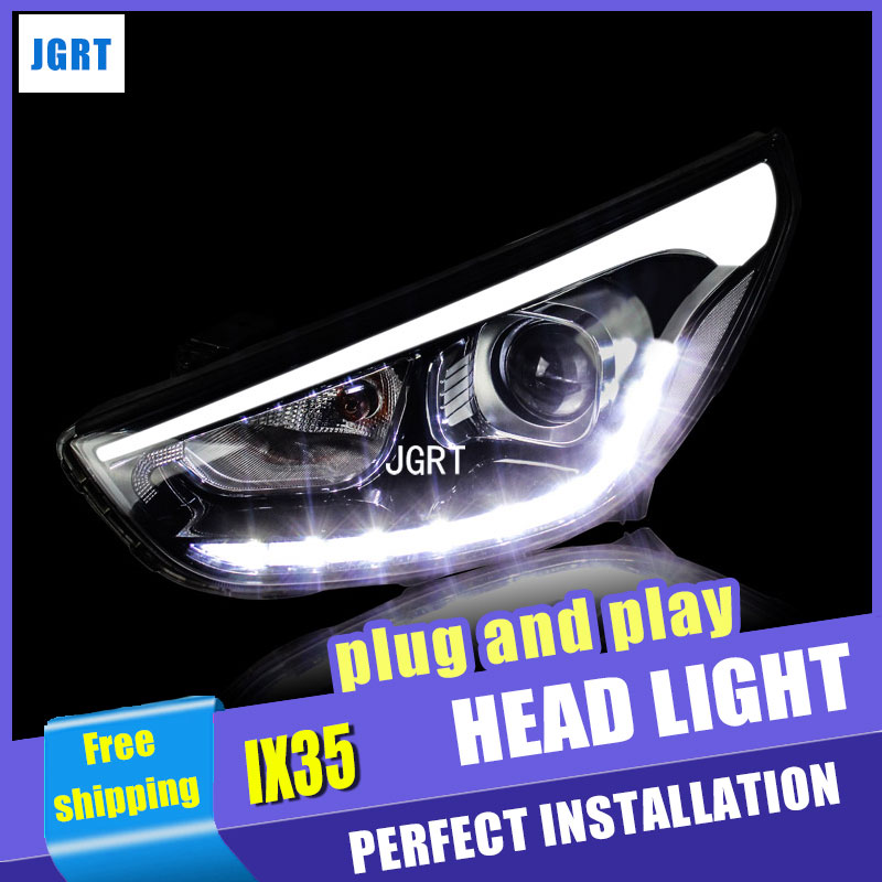 car styling For Hyundai IX35 headlight assembly 2010-2013 For Hyundai IX35 LED lamp bi xenon lens h7 with hid kit 2 pcs 1pc 2 5 hid xenon ultimate bi xenon projector lens parking car styling headlight diy lamp for h1bulb with shrouds h4 h7 socket