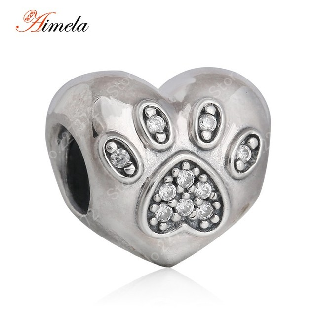 925 Sterling Silver I Love My Pet Paw Prints Footprints Heart Charm Beads with AAA Cubic Zirconia Fit Pan Bracelets DIY