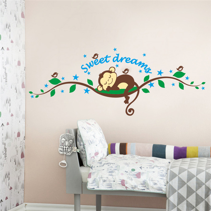 Us 0 46 31 Off Sweet Dreaming Sleeping Monkey On The Tree Wall Stickers For Nursery Kids Bedroom Pvc Mural Decal De In From Home