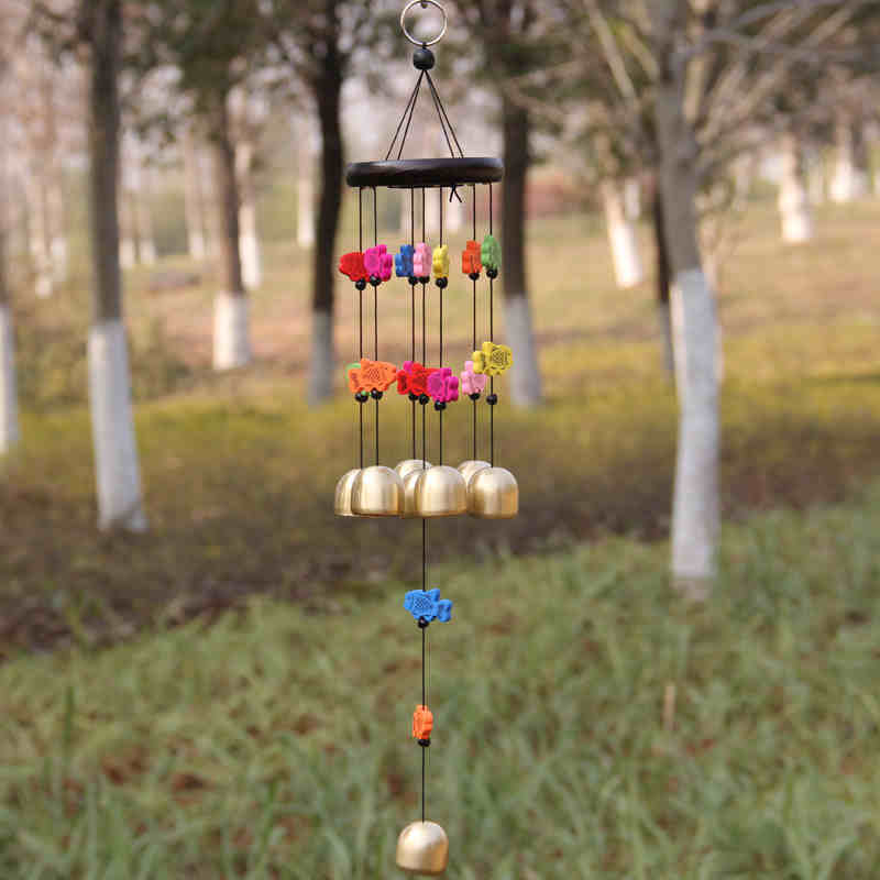 Creative Door Hangings Yunnan Colorful Wooden Fish 6 To 8 Brass Bells Wind Chime Shop Home Decor Lover's Wedding Gifts