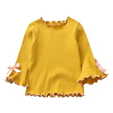Baby Girls T-Shirt Autumn Girls Clothes Bow Tie Infant Clothing Princess Long Sleeve Top Outfit
