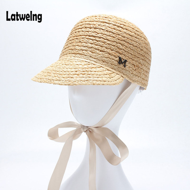 97718e37354ccb 2018 NEW Fashion High Quality Raffia Belt Baseball Caps Sun Visor Straw Hats  For Women Girls Beach Black Hat Wholesale