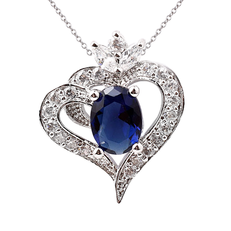 Beautiful Heart Blue Sapphire Women Solid 925 Sterling Silver Pendant Love Gift NAL P036