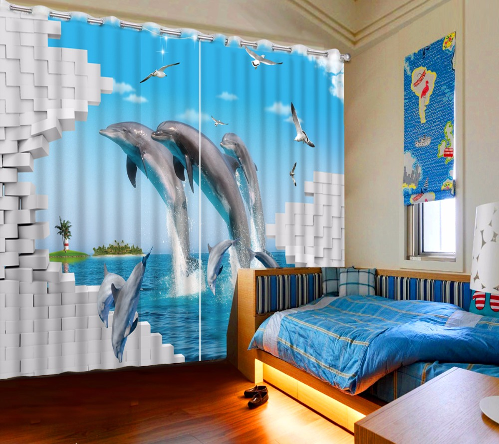 Modern Children Room Curtains Dolphin Printed Blackout